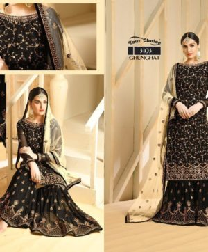 YOUR CHOICE GHUNGHAT BLACK SALWAR SUITS