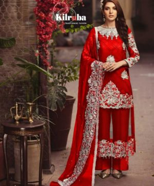 KILRUBA VALENTINE DAYS SPECIAL RED SALWAR SUITS WHOLESALE IN SINGLE