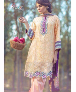 SHREE FAB AL KARAM PAKISTANI LAWN SALWAR SUITS IN SINGLE