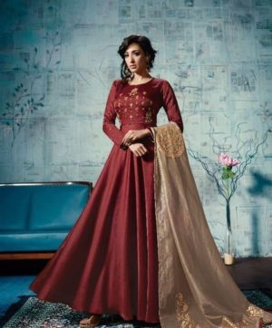 LT FABRICS PARTY WEAR GOWN STYLE KURTIS WHOLESALE