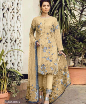 GEORGETTE PAKISTANI SALWAR SUITS YELLOW IN SINGLE PIECE