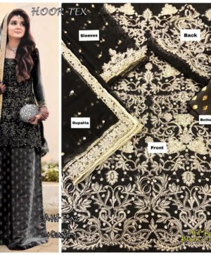 LATEST HOOR TEX PAKISTANI SUIT IN BLACK COLOR
