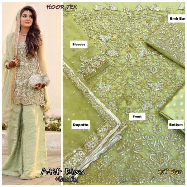 LATEST PAKISTANI SUITS IN NET FABRIC HOOR TEX