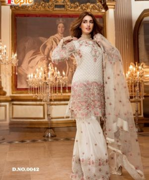 FEPIC SANOBER 0043 WHITE PAKISTANI SUITS WHOLESALE