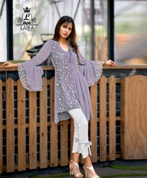 LAIBA LONG TUNIC WITH CIGARETTE PANTS AM VOL 23 PURPLE