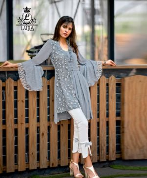 LAIBA LONG TUNIC WITH CIGARETTE PANTS AM VOL 23 GREY