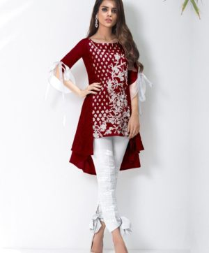 LUXURY PREET MAROON KURTI WITH EXCLUSIVE PANTS