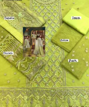 KAINAT FAB MARIA B GREEN NET PAKISTANI SUITS WHOLESALER