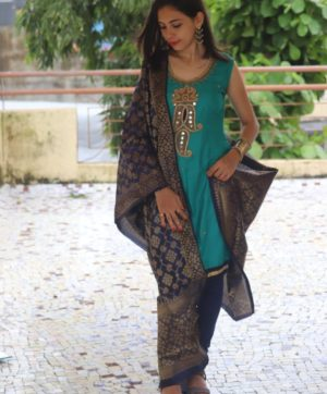 COTTON SALWAR KAMEEZ WITH BANARASI DUPATTA 01