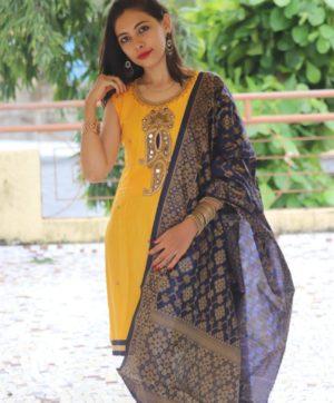 COTTON SALWAR KAMEEZ WITH YELLOW BANARASI DUPATTA