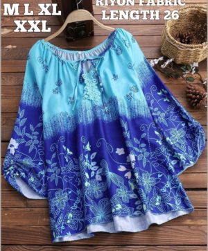 STYLISH NECK BLUE TOPS FOR GIRLS IN BEST PRICE