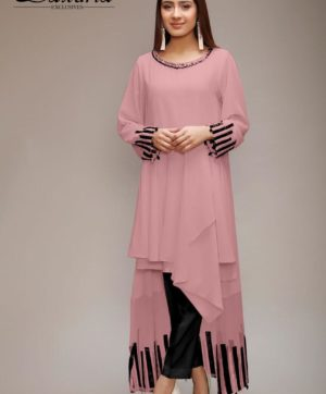 LAXURIA TRENDZ DESIGNER TUNIC ONION PINK COLOR KURTI