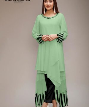 LAXURIA TRENDZ DESIGNER TUNIC OLIVE GREEN COLOR KURTI