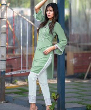 ZARA STUDIO GREEN TUNICS WITH CIGARETTE PANTS