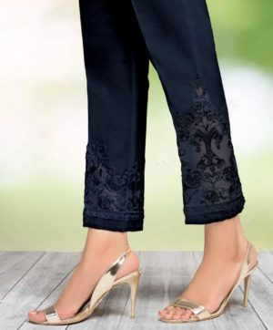CIGARETTE PANTS ONLINE PAKISTANI LADIES NAVY BLUE COLOR