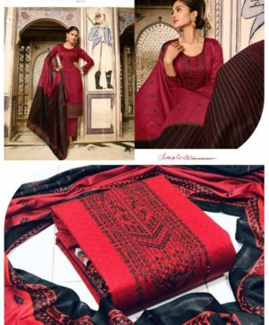 MUMTAZ ARTS CASHMERE RED SUIT IN SINGLE PIECE