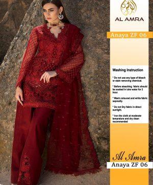 AL AMRA ANAYA ZF 06 RED PAKISTANI SUITS