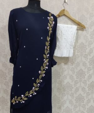 LAIBA AM VOL 18  LUXURY TUNIC WITH CIGARETTE PANTS NAVY BLUE