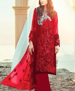 RAMSHA R 115 B RED PAKISTANI SUIT WHOLESALER