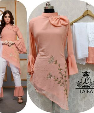 LAIBA AM VOL 30 DESIGNER WORK TUNICS PEACH