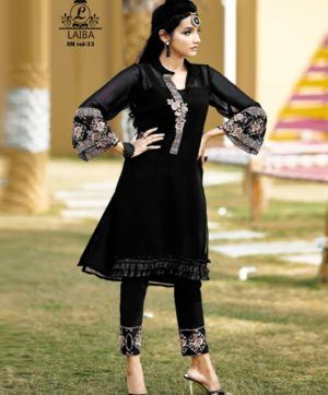 LAIBA AM VOL 33 BLACK DESIGNER TUNIC WHOLESALER