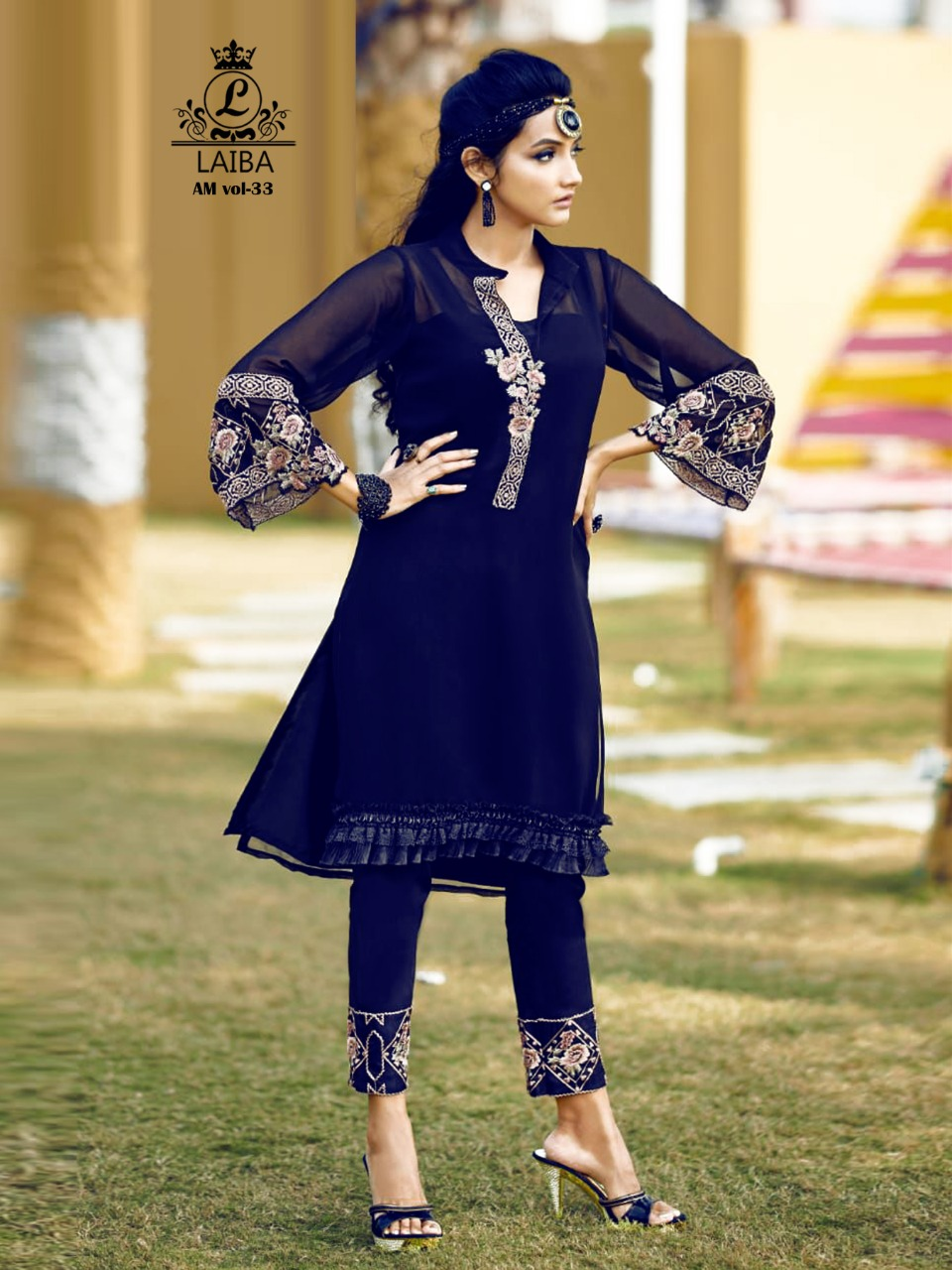 LAIBA AM VOL 33 NAVY BLUE DESIGNER TUNIC WHOLESALER