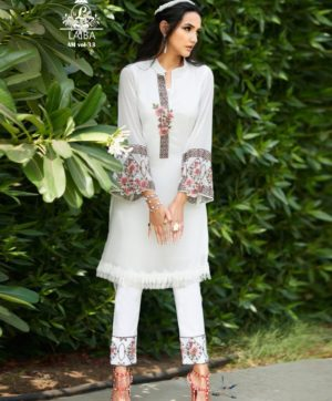 LAIBA AM VOL 33 WHITE DESIGNER TUNIC WHOLESALER