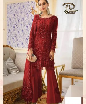 LAAIBAH GULAL RED NET PAKISTANI SUITS SUPPLIER