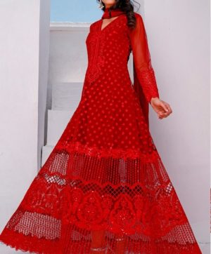 RAMSHA R 166 RED NET PAKISTANI SUIT WHOLESALER