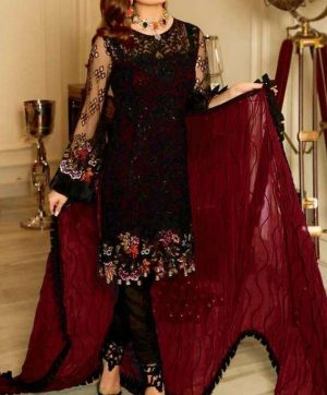 RAMSHA R-114 MAROON PAKISTANI SUITS SUPPLIER