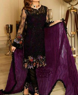 RAMSHA R-114 WINE COLOR PAKISTANI SUITS SUPPLIER
