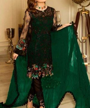 RAMSHA R-114 DARK GREEN PAKISTANI SUITS SUPPLIER