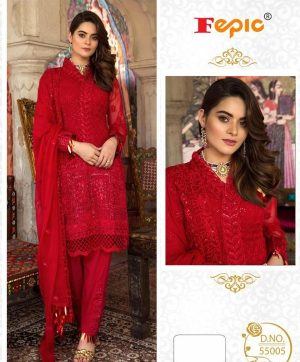 FEPIC ROSEMEEN 55005 RED PAKISTANI SUIT IN SINGLE