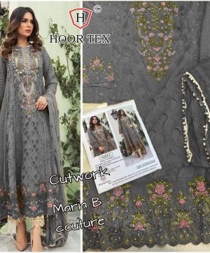 HOOR TEX MARIA B GREY PAKISTANI SUIT IN SINGLE PIECE