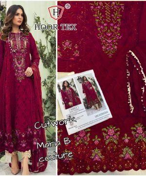 HOOR TEX MARIA B WINE PAKISTANI SUIT IN SINGLE PIECE