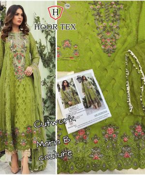 HOOR TEX MARIA B GREEN PAKISTANI SUIT IN SINGLE PIECE