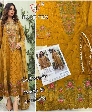 HOOR TEX MARIA B MUSTURD PAKISTANI SUIT IN SINGLE PIECE