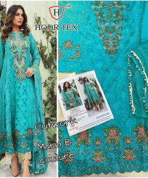HOOR TEX MARIA B BLUE PAKISTANI SUIT IN SINGLE PIECE