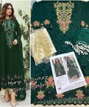 M 3 FASHION MARIA B COUTURE 1001 C GREEN WHOLESALE