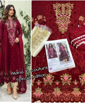 M 3 FASHION MARIA B COUTURE 1001 D MAROON WHOLESALE