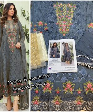 M 3 FASHION MARIA B COUTURE 1001 B GREY WHOLESALE