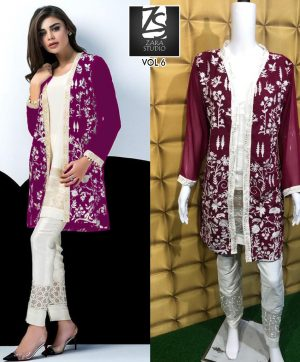 ZARA STUDIO VOL 6 MAROON DESIGNER TUNICS WHOLESALE