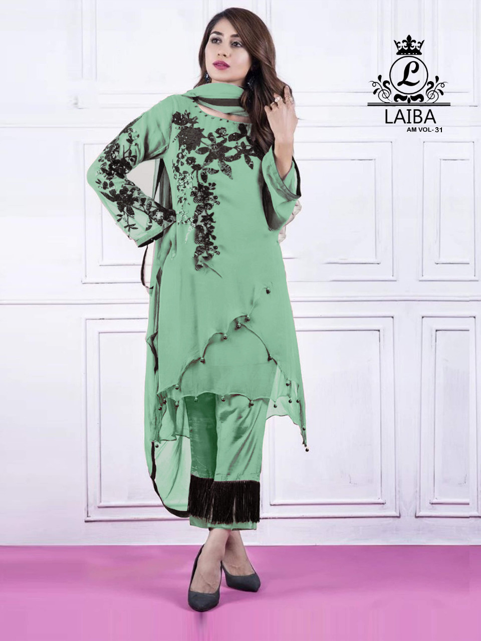 LAIBA DESIGNER TUNICS AM VOL 31 PISTA GREEN