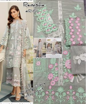 RAMSHA R 151 NET PAKISTANI SUITS WHOLESALE