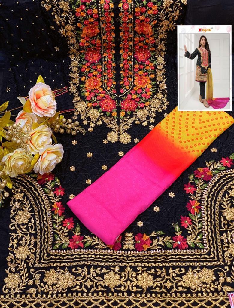 FEPIC C 1020 BLACK ROSEMEEN FLORAL PAKISTANI SUIT