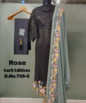 SHANAYA FASHION ROSE 705 BLACK  PAKISTANI SUITS ONLINE