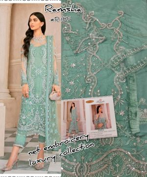 RAMSHA R 185 PAKISTANI SUITS IN SINGLE PIECE