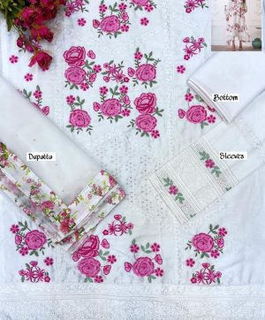 CS LUXURY LAWN C 7 WHITE COTTON SUIT