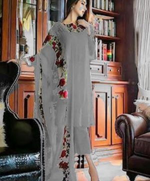 GUL AHMED GREY PAKISTANI SUITS WHOLESALER