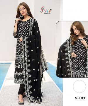 SHREE FABS S 103 BLACK PAKISTANI STYLE SUIT